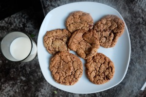 Chocolate & Pecan Cookies with milk